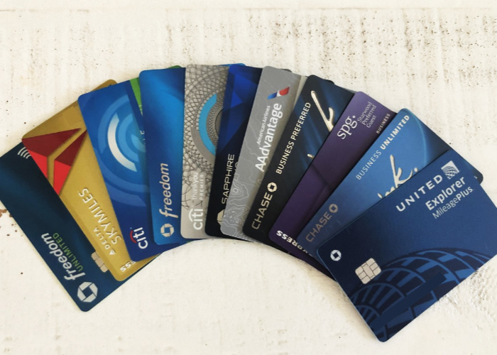 several credit cards fanned out on a table