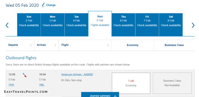screen shot of British Airways Hawaii availability