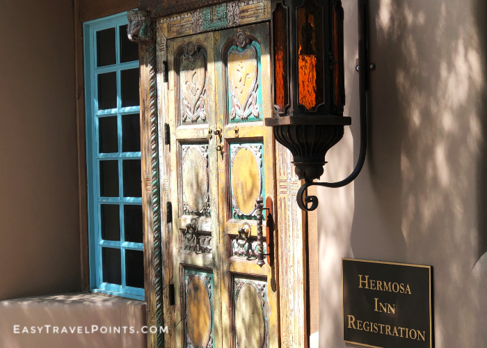 The front door to the main lobby at the Hermosa Inn