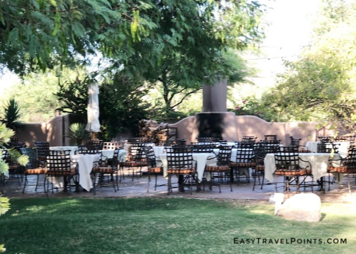 outdoor seating at a hotel restaurant