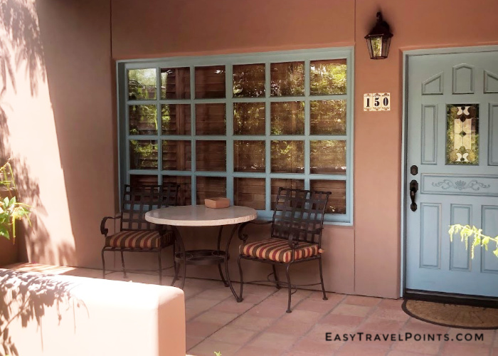 the front patio for a room at the Hermosa Inn
