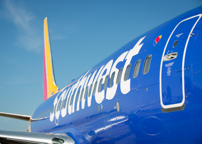Looking down the side of a Southwest Airlines 737