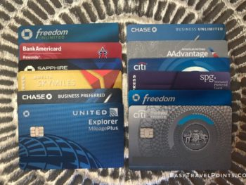 several different credit cards in two parallel lines