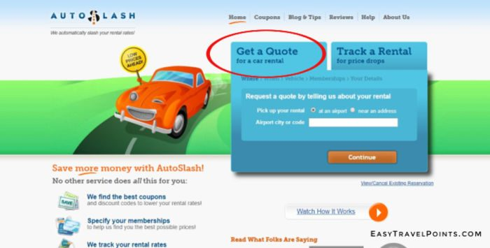 a screen shot of the autoslash home page