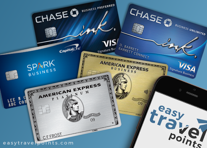 a collage of the best business credit cards that include Chase Ink, Amex and Capital One cards
