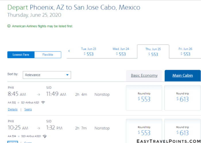 search results on American Airline's website for flights from Phoenix to Cabo San Lucas, Mexico