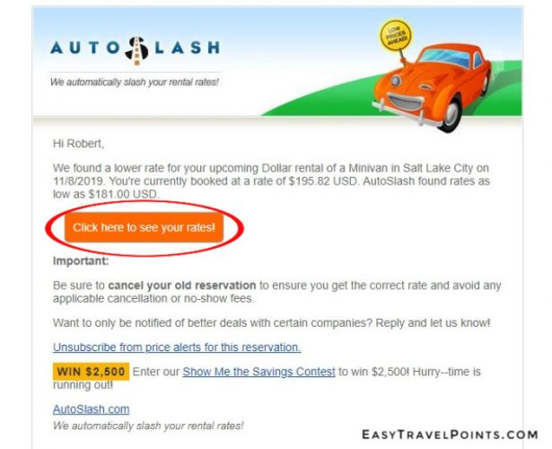 a screen shot of an email from autoslash with a lower rental rate