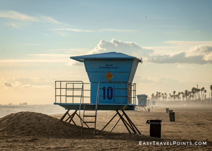 a lifeguard stand at Huntington Beach