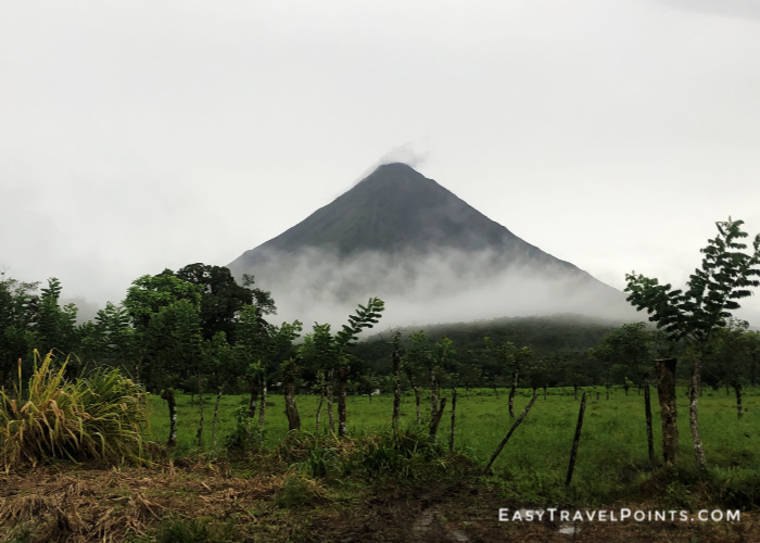 Arenal volcano on a cloudy and rainy day