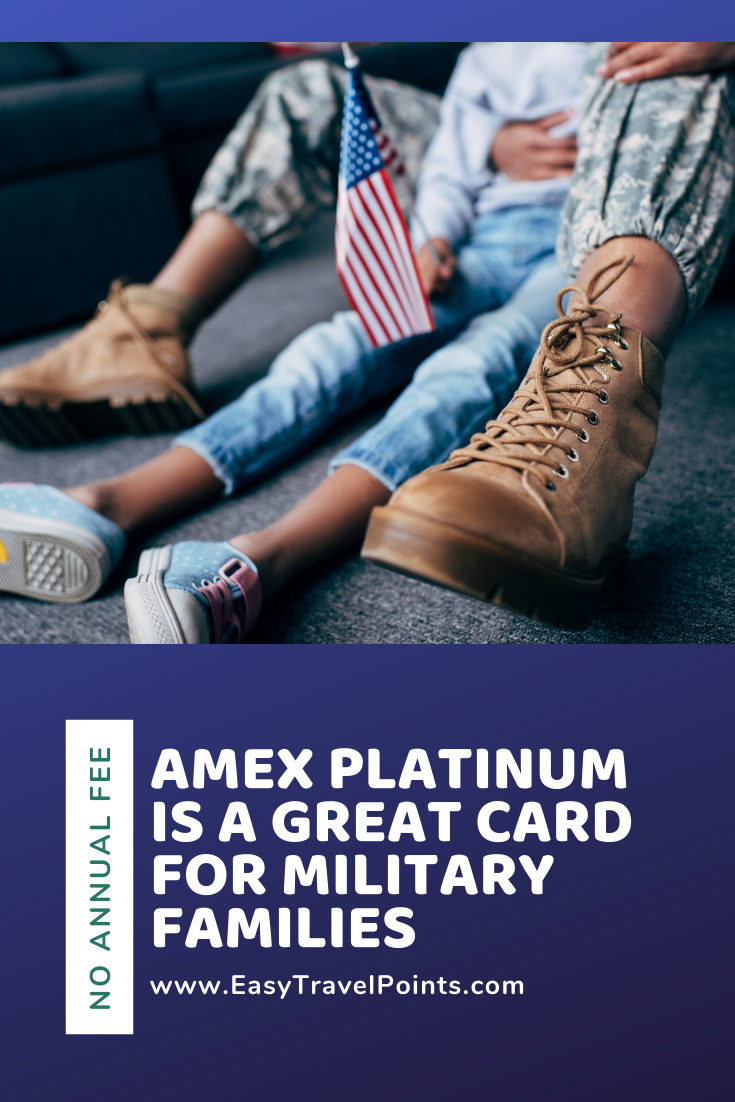 The American Express Platinum credit card is a great option for active duty military with no annual fee, travel credits and airport lounge access. #bestcreditcardforactivedutymilitary #besttravelcardformilitary #noannualfeecardformilitary #topcreditcardformilitaryfamily #americanexpressplatinummilitary