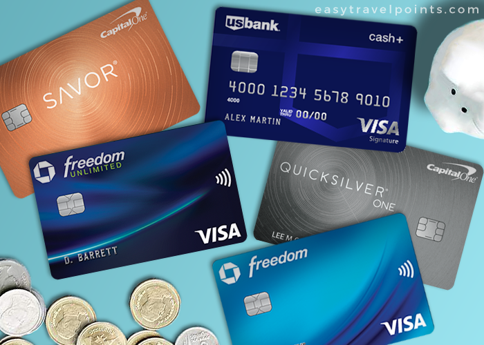 a collage of the best cash back credit cards
