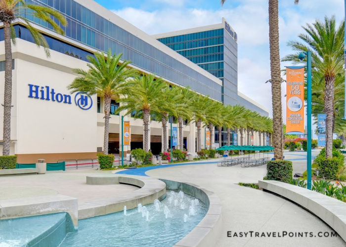 exterior of the Hilton Anaheim which is a disneyland hotel you can book with points