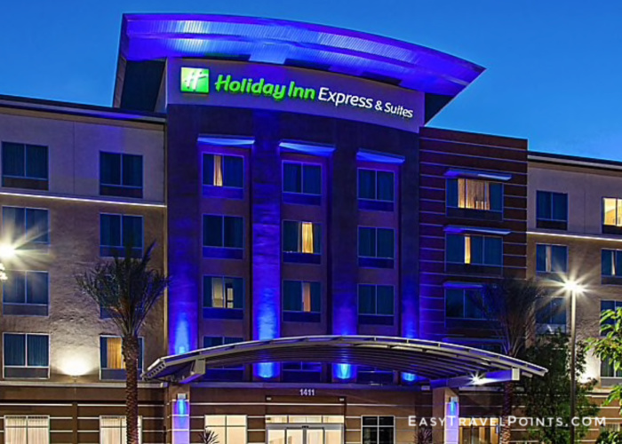 exterior of the holiday inn express & suites anaheim which is a great disneyland hotel to book with points