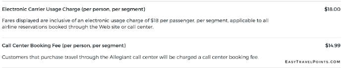 Allegiant Air's carrier usage charge fee explanation