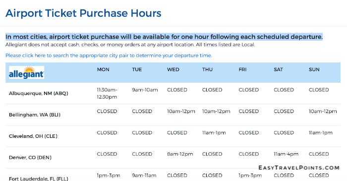 Allegiant airport ticket counter schedule