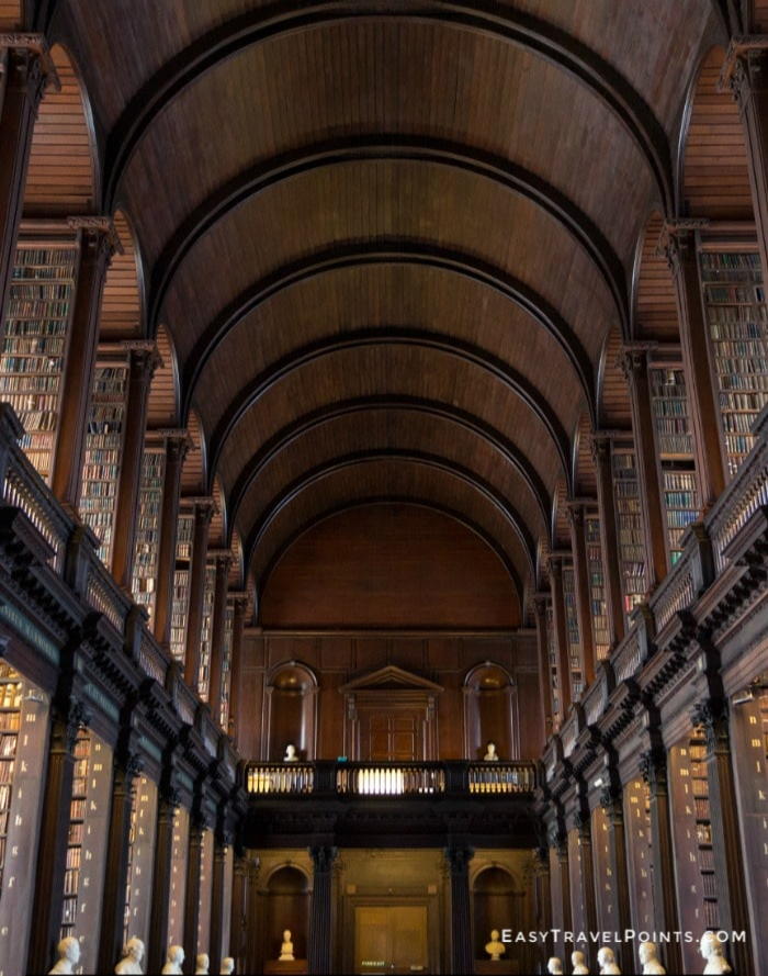 the long hallway inside Trinity College library