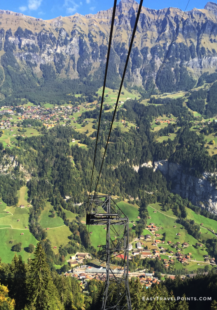 view from a cable car in Lauterbrunnen Swtizerland
