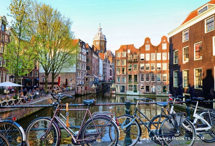 bikes along a canal in Amsterdam