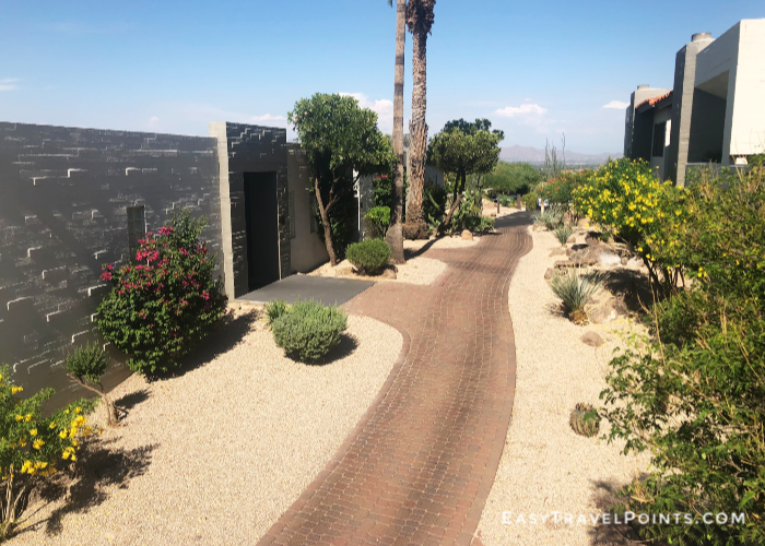 path leading to the rooms at the Sanctuary Camelback hotel