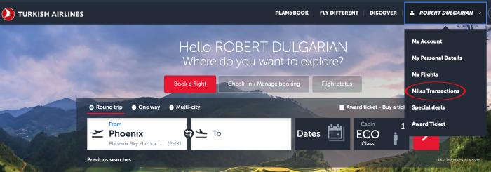 Account menu on Turkish Airlines website