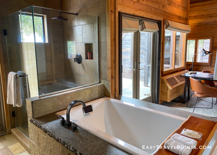 shower and bath in a suite at ventana